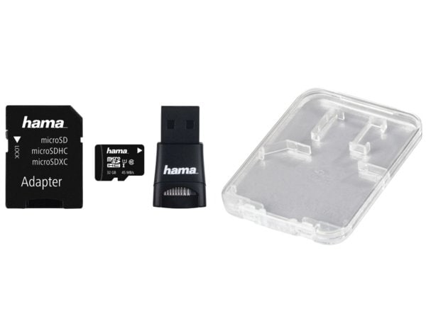 Karta pamięci HAMA microSDHC 32GB Class 10 UHS-I 45MB/s + adapter SD + adapter USB 2.0 + etui
