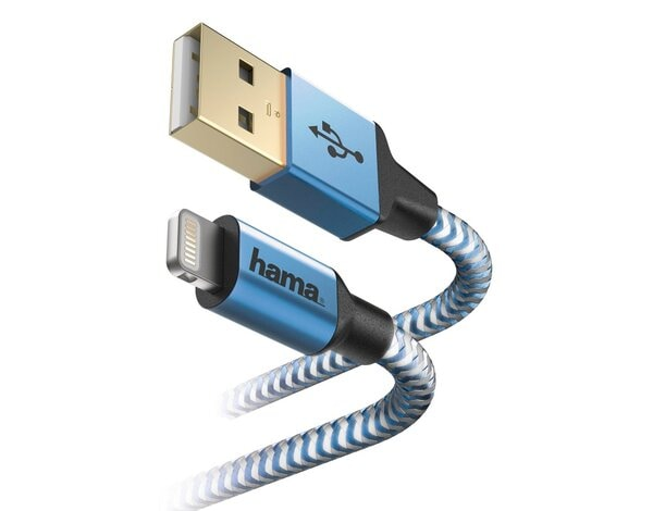 Kabel micro USB HAMA Reflected Lightning 1.5M, Niebieski
