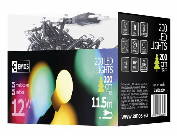 Lampki choinkowe EMOS 200 LED CHERRY CHRISTMAS 10M IP20 MC ZYK0209