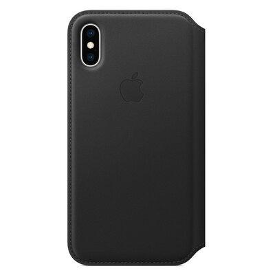 Produkt z outletu: Skórzane etui folio APPLE iPhone XS Czarny MRWW2ZM/A